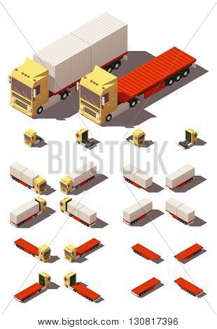 Vector Isometric icon or infographic element representing truck or tractor with container flatbed trailer or semi-trailer. Every truck and trailer in four views with different shadows