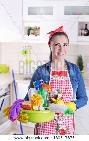 Happy Cleaning Lady In Kitchen