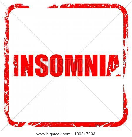insomnia, red rubber stamp with grunge edges