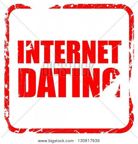 internet dating, red rubber stamp with grunge edges