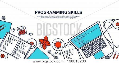 Lined programming, coding. Outline Flat computing background. Code, hardware, software. Web development. Search engine optimization. Innovation, technologies. Mobile app. Vector illustration. SEO.