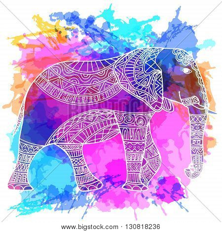 Greeting Beautiful card with Elephant. Frame of animal made in vector. Perfect cards, or for any other kind of design, birthday and other holiday. hand drawn map with Elephant.