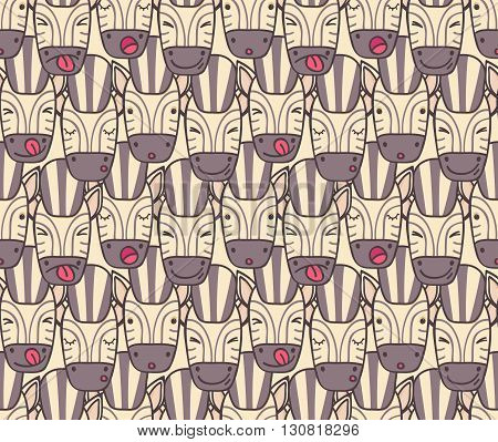Seamless pattern of zebra muzzles of different emotions