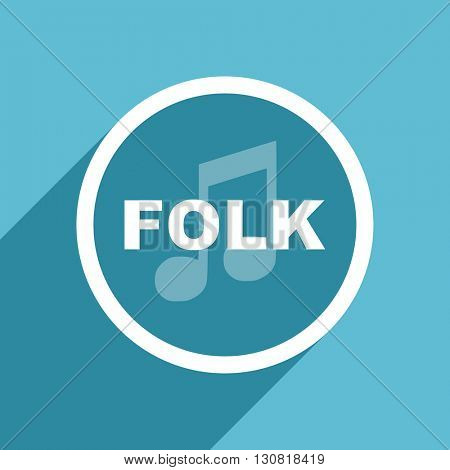 folk music icon, flat design blue icon, web and mobile app design illustration