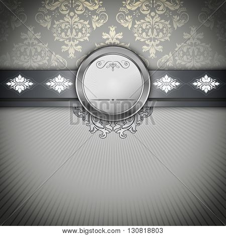 Black and white vintage background with patterns and decorative border.