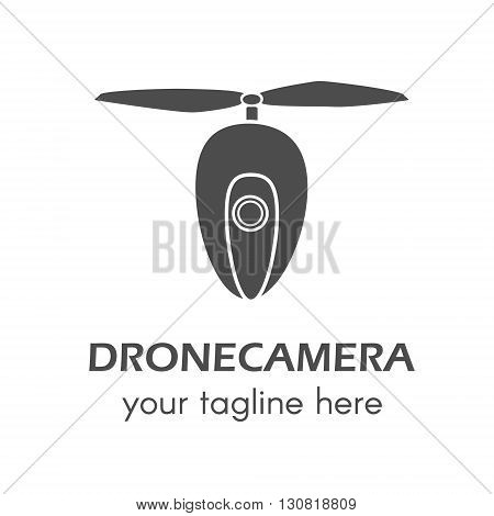 Creative drone logo. Perfect for design elements badges and labels. Drone copter