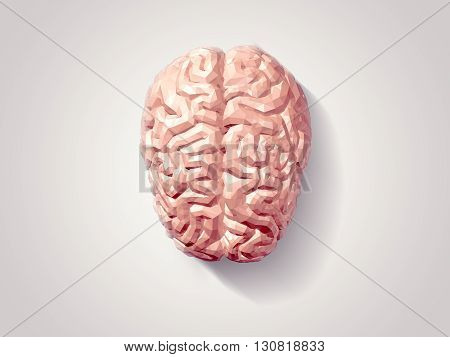 3d Illustration of human brain with faceted low-poly geometry effect