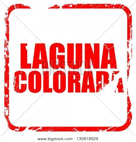 Laguna colorada, red rubber stamp with grunge edges