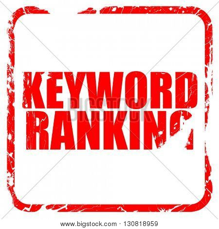keyword ranking, red rubber stamp with grunge edges