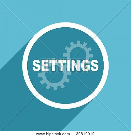 settings icon, flat design blue icon, web and mobile app design illustration
