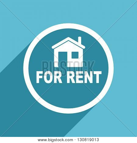 for rent icon, flat design blue icon, web and mobile app design illustration