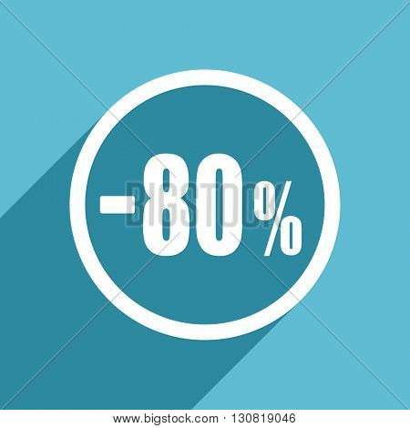 80 percent sale retail icon, flat design blue icon, web and mobile app design illustration