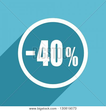 40 percent sale retail icon, flat design blue icon, web and mobile app design illustration