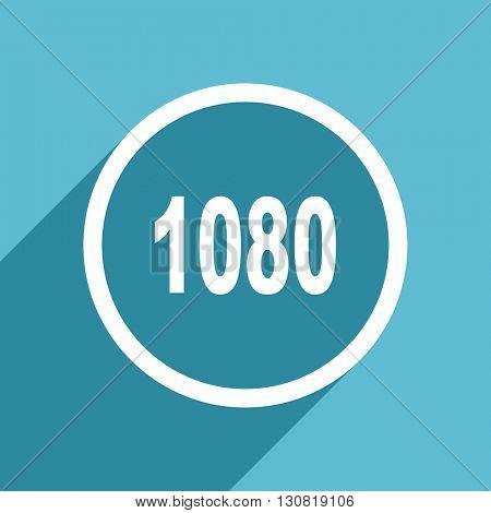 1080 icon, flat design blue icon, web and mobile app design illustration