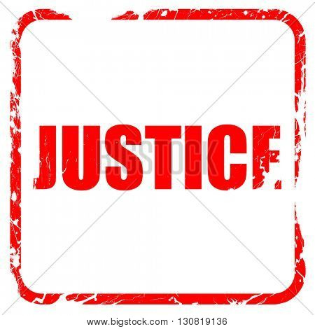justice, red rubber stamp with grunge edges