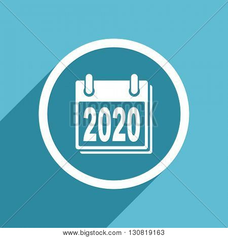 new year 2020 icon, flat design blue icon, web and mobile app design illustration