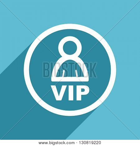 vip icon, flat design blue icon, web and mobile app design illustration