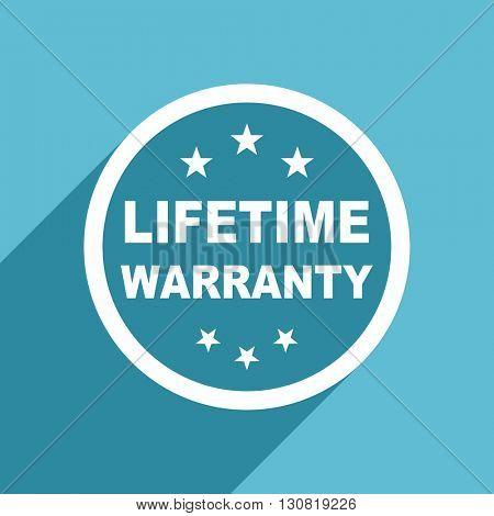 lifetime warranty icon, flat design blue icon, web and mobile app design illustration