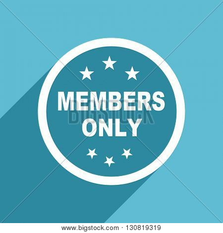 members only icon, flat design blue icon, web and mobile app design illustration