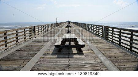 St. Augustine Beach, Florida wooden fishing pier background
