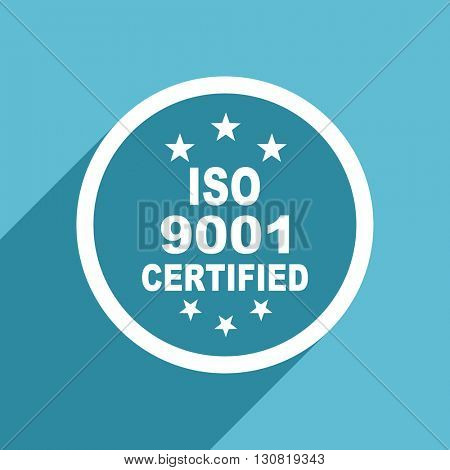 iso 9001 icon, flat design blue icon, web and mobile app design illustration
