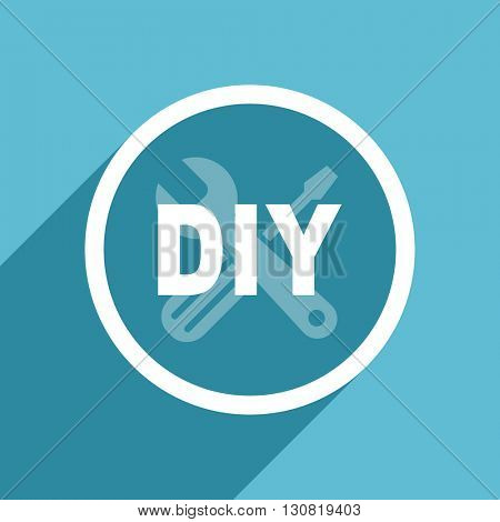 diy icon, flat design blue icon, web and mobile app design illustration