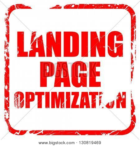 landing page optimization, red rubber stamp with grunge edges