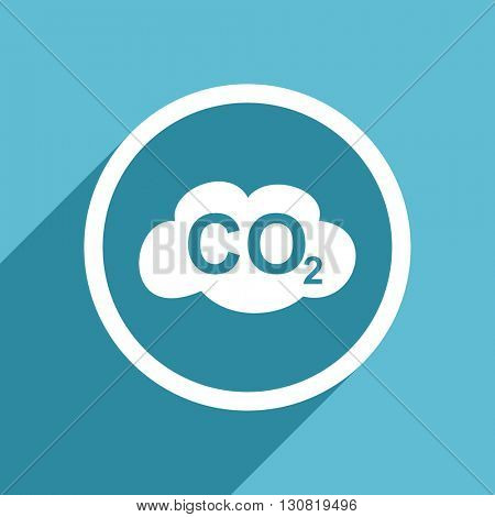 carbon dioxide icon, flat design blue icon, web and mobile app design illustration