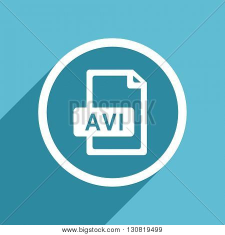 avi file icon, flat design blue icon, web and mobile app design illustration