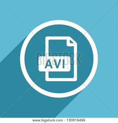 avi file icon, flat design blue icon, web and mobile app design illustration