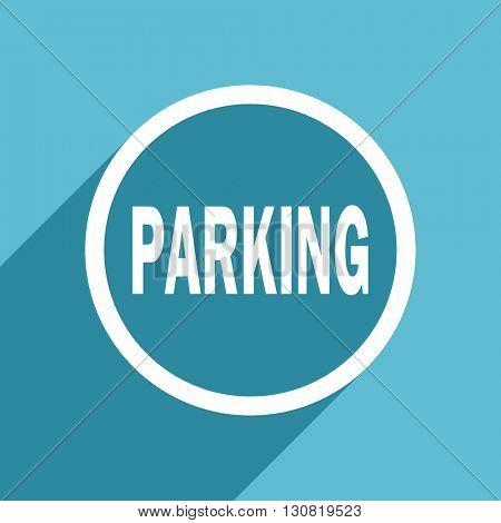 parking icon, flat design blue icon, web and mobile app design illustration