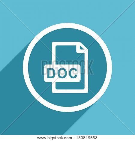doc file icon, flat design blue icon, web and mobile app design illustration