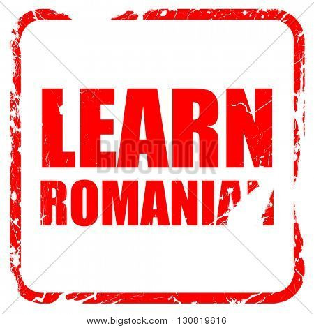 learn romanian, red rubber stamp with grunge edges