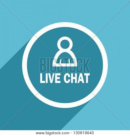 live chat icon, flat design blue icon, web and mobile app design illustration