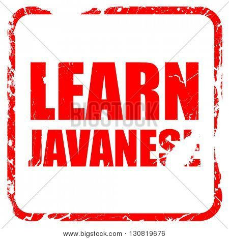 learn javanese, red rubber stamp with grunge edges