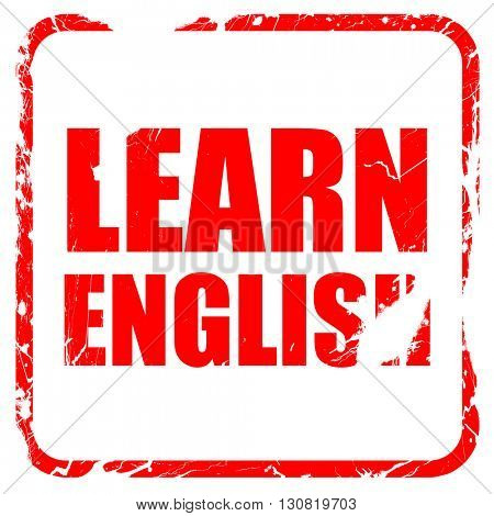 learn english, red rubber stamp with grunge edges