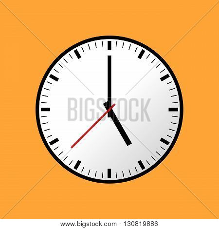 Clock icon, Vector illustration, flat design. Easy to use and edit. EPS10. Orange background.