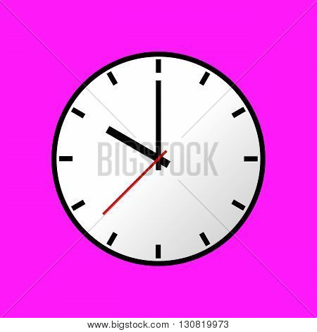 Clock icon, Vector illustration, flat design. Easy to use and edit. EPS10. Pink background.