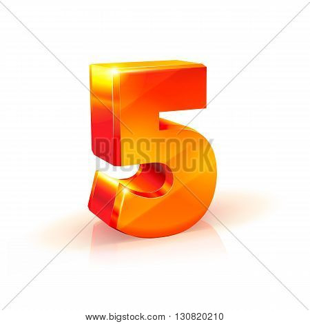 3d orange-red realistic volumetric image number five. Isolated on white background.