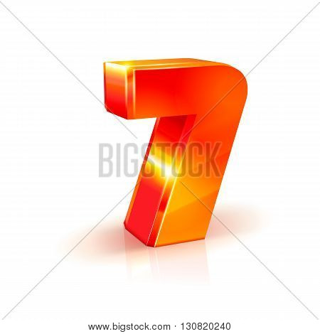 3d orange-red realistic volumetric image number seven. Isolated on white background