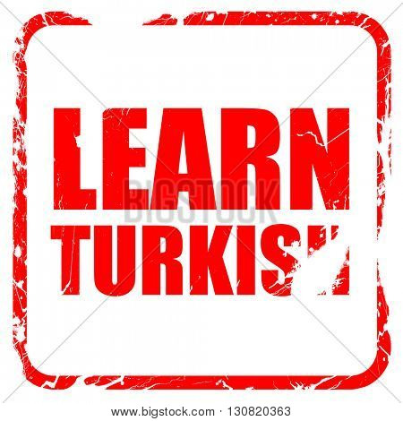 learn turkish, red rubber stamp with grunge edges