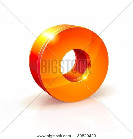 3d orange-red realistic volumetric image number zero. Isolated on white background. shiny Orange Red 3d number 0