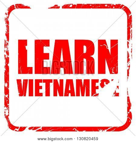 learn vietnamese, red rubber stamp with grunge edges