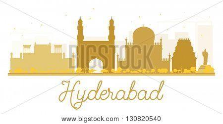 Hyderabad City skyline golden silhouette. Vector illustration.