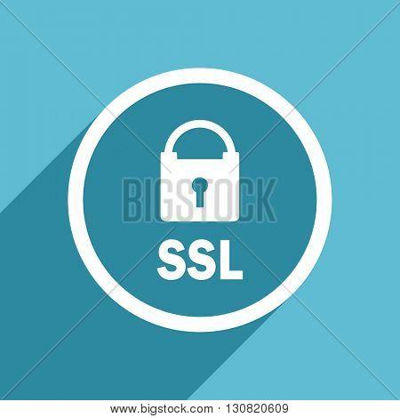 ssl icon, flat design blue icon, web and mobile app design illustration