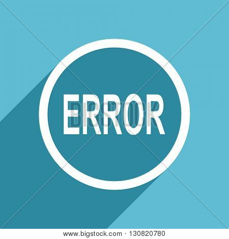 error icon, flat design blue icon, web and mobile app design illustration