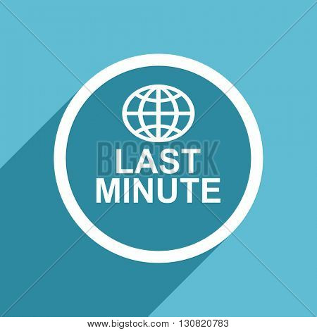 last minute icon, flat design blue icon, web and mobile app design illustration