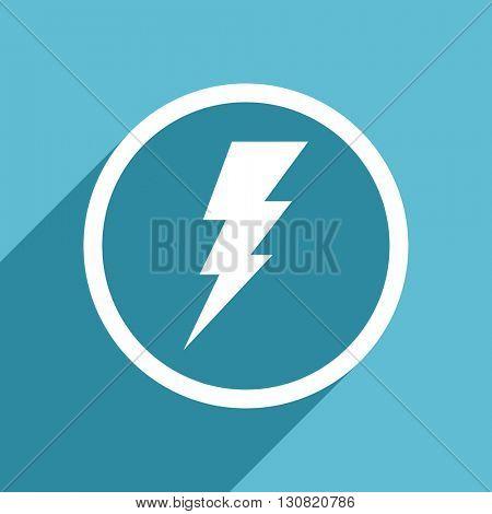 bolt icon, flat design blue icon, web and mobile app design illustration