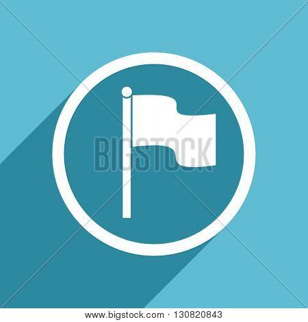 flag icon, flat design blue icon, web and mobile app design illustration