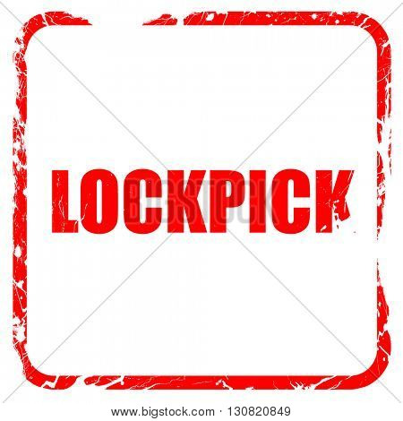 lockpick, red rubber stamp with grunge edges
